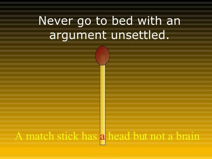 Never go to sleep on an argument